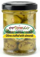 Ortomio Green Olives Stuffed with Almonds, 212ml