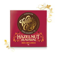 Willie's Cacao dark chocolate Peruvian with hazelnuts and raisins, cacao 70 %, 50g