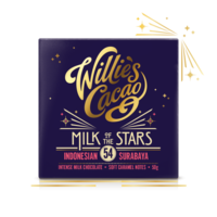 Čokoláda Willie's mléčná MILK OF THE STARS, Indonesian Surubaya 54%, 50g