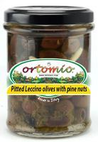 Ortomio Pitted Leccino Olives with Pine Nuts and Basil, 212 ml