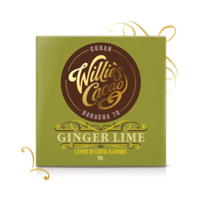 Willie's Cacao dark chocolate Sierra with ginger and lime, cacao 70%, 50g