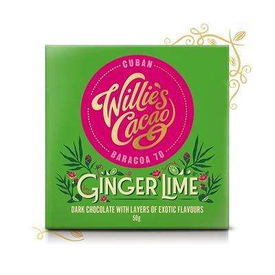 Willie's Cacao dark chocolate Sierra with ginger and lime, cacao 70%, 50g - 1
