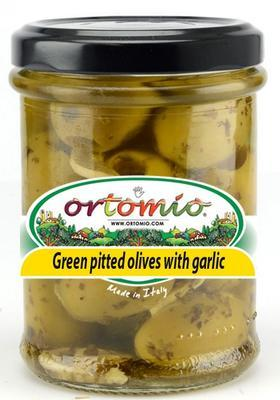 Ortomio Large Pitted Green Olives Marinated with Garlic, 212ml