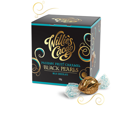 Pralinky Willie's Black Pearls Passionfruit s karamelem, 150g