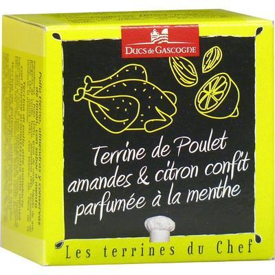Terrine of chicken, almond and lemon perfumed with mint, 65g