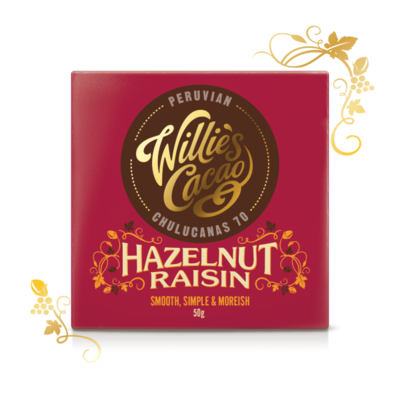 Willie's Cacao dark chocolate Peruvian with hazelnuts and raisins, cacao 70 %, 50g - 1