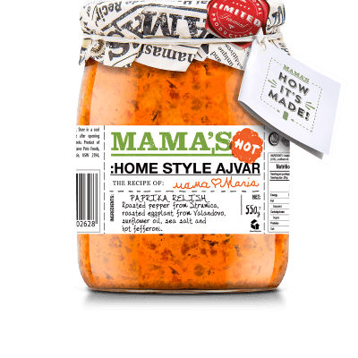 Mamas Ajvar Home Made Fire hot Mamas, 550g