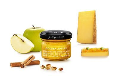 MINI Sweet Sauce of Cubed Caramelized Golden Apples with Pistachios from Turkey and Cinnamon from Sri Lanka, 70g - 1