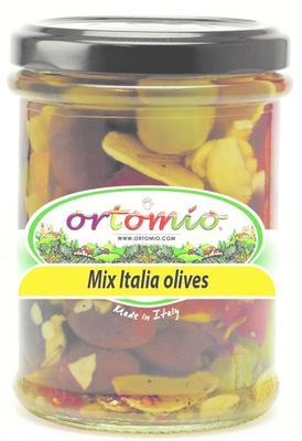 "Ortomio ""Mix Italia"" pitted green and black olives, 212 ml"