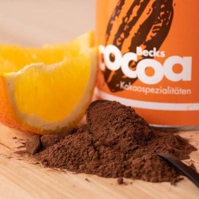 "BECKSCOCOA Drinking Chocolate ""CHOCKWORK ORANGE"" with orange zest and ginger. 250g can, Fairtrade - 3"